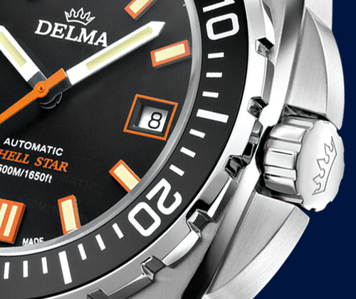 Detail shot of Delma Shell Star Automatic diver's watch in stainless steel