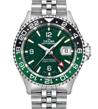 Delma Santiago GMT watch with 2nd timezone indicator, green dial
