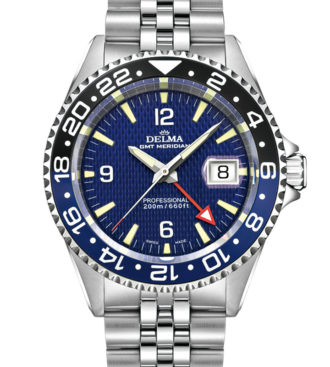 Delma Santiago GMT watch with 2nd timezone indicator, blue dial