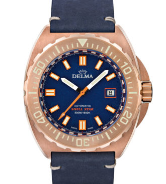 Delma Shell Star Bronze with blue dial and blue genuine leather strap