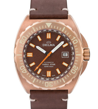 Delma Shell Star Bronze with brown dial and brown genuine leather strap