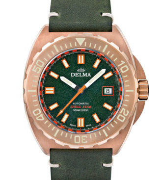 Delma Shell Star Bronze with green dial and genuine leather strap