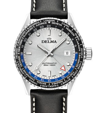 Delma Cayman Worldtimer Automatic watch with silver dial
