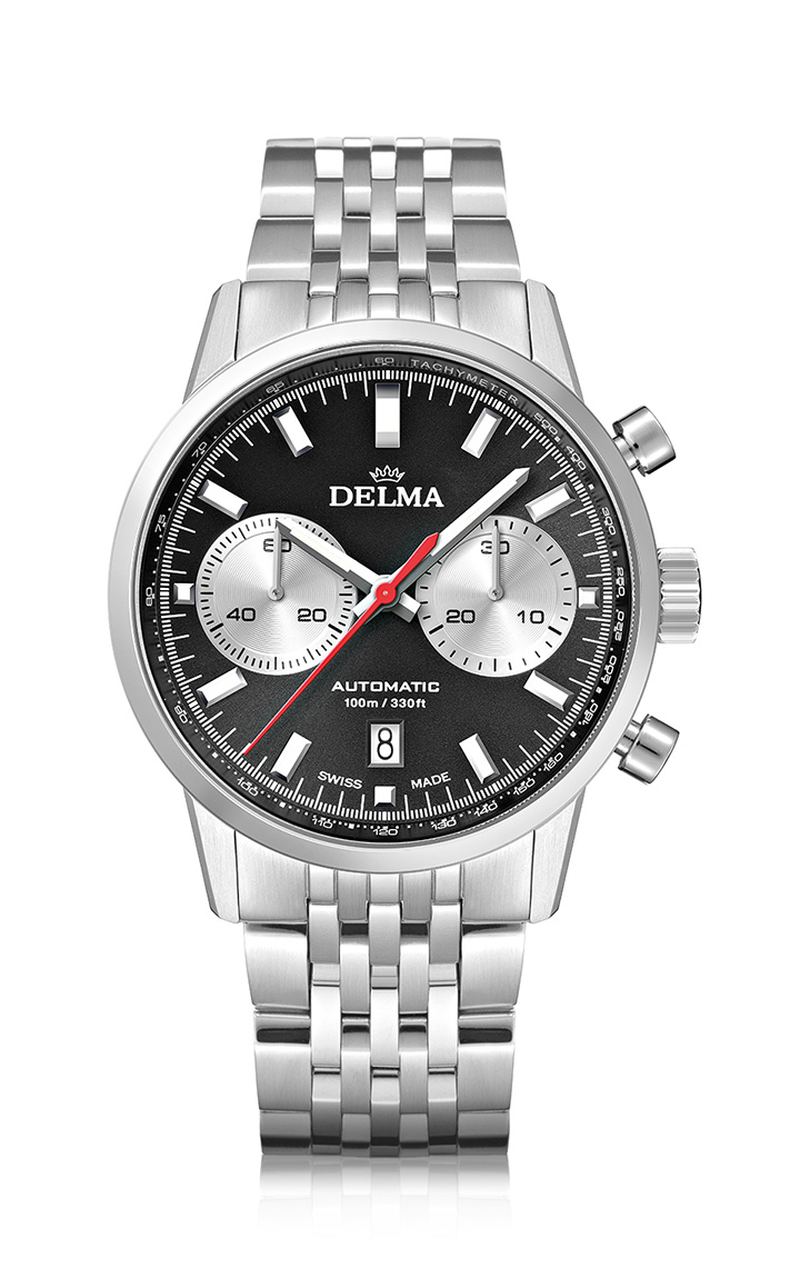 DELMA Continental Automatic Chronograph Bicompax with black dial and silver counters