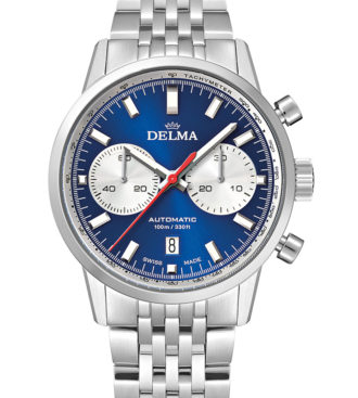 DELMA Continental Automatic Chronograph Bicompax with blue dial and silver counters