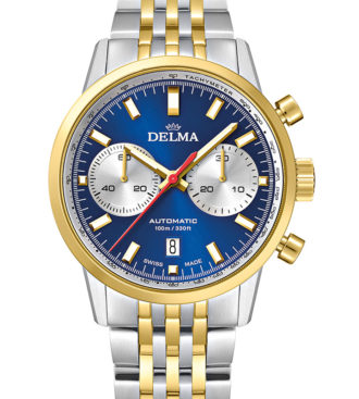 DELMA Continental Automatic Chronograph Bicompax, two-tone stainless steel yellow gold PVD with blue dial and silver counters