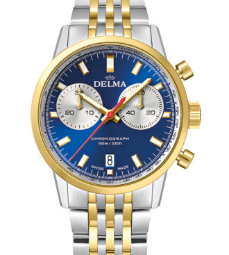 DELMA Continental Quartz Chronograph Bicompax, two-tone stainless steel yellow gold PVD with blue dial and silver counters