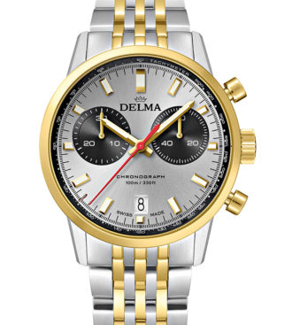 DELMA Continental Quartz Chronograph Bicompax, two-tone stainless steel yellow gold PVD with silver dial and black counters