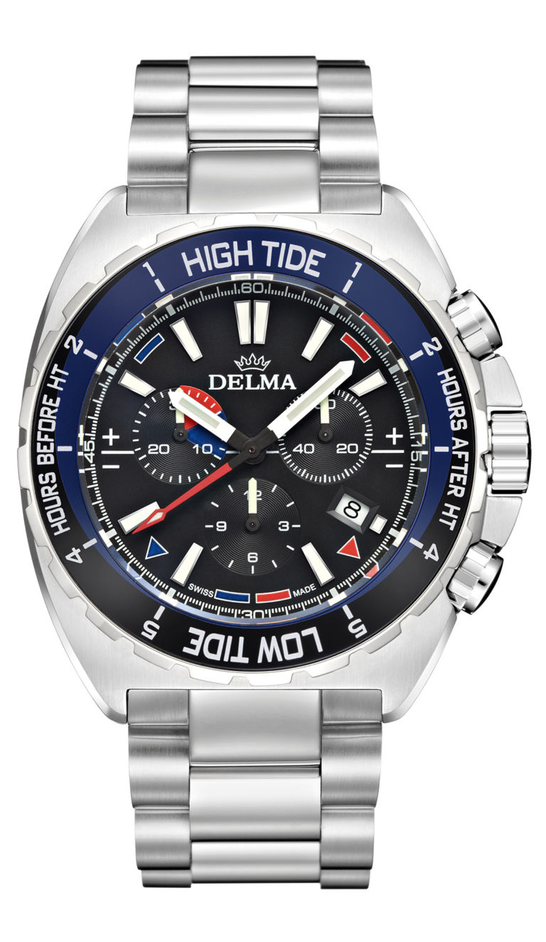 Delma Oceanmaster Tide Chronograph with tide bezel, tactical planner and points of sail indicators