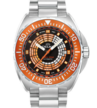 Delma Shell Star Decompression Timer with stainless steel bracelet and blue unidirectional bezel